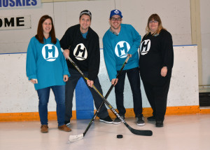 Photos by Brian Lockhart The fourth annual Hockey Night for Headwaters event took place at the Centre Dufferin Recreation Complex in  Shelburne on Saturday, November 21. The event feature a family skate follow by two fun hockey games featuring hospital staff. Event organizers Janet Gordanier, Stephen Gill, John Roberto, and Patty Napran, start the night with face off on the ice.